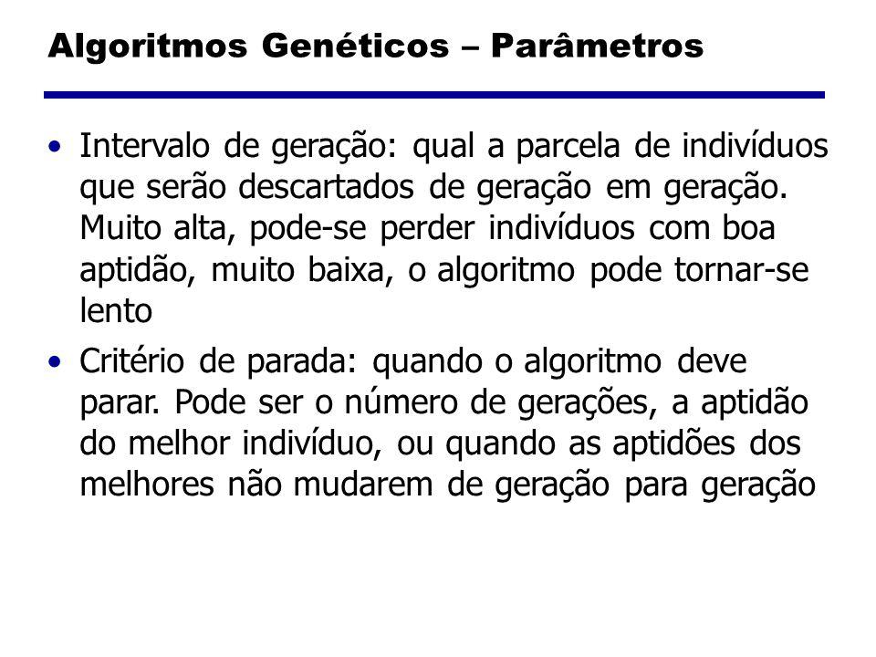 Algoritmos Genéticos – Parâmetros Intervalo de geração: qual a parcela de indivíduos que serão descartados de geração em geração. Muito alta, pode-se