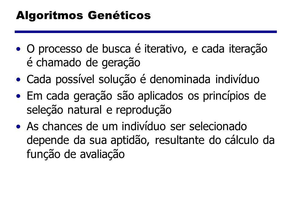 Algoritmos Genéticos O processo de busca é iterativo, e cada iteração é chamado de geração Cada possível solução é denominada indivíduo Em cada geraçã