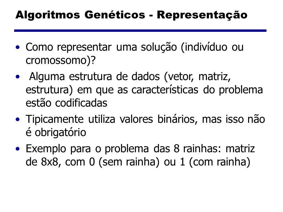 Algoritmos Genéticos - Representação Como representar uma solução (indivíduo ou cromossomo)? Alguma estrutura de dados (vetor, matriz, estrutura) em q