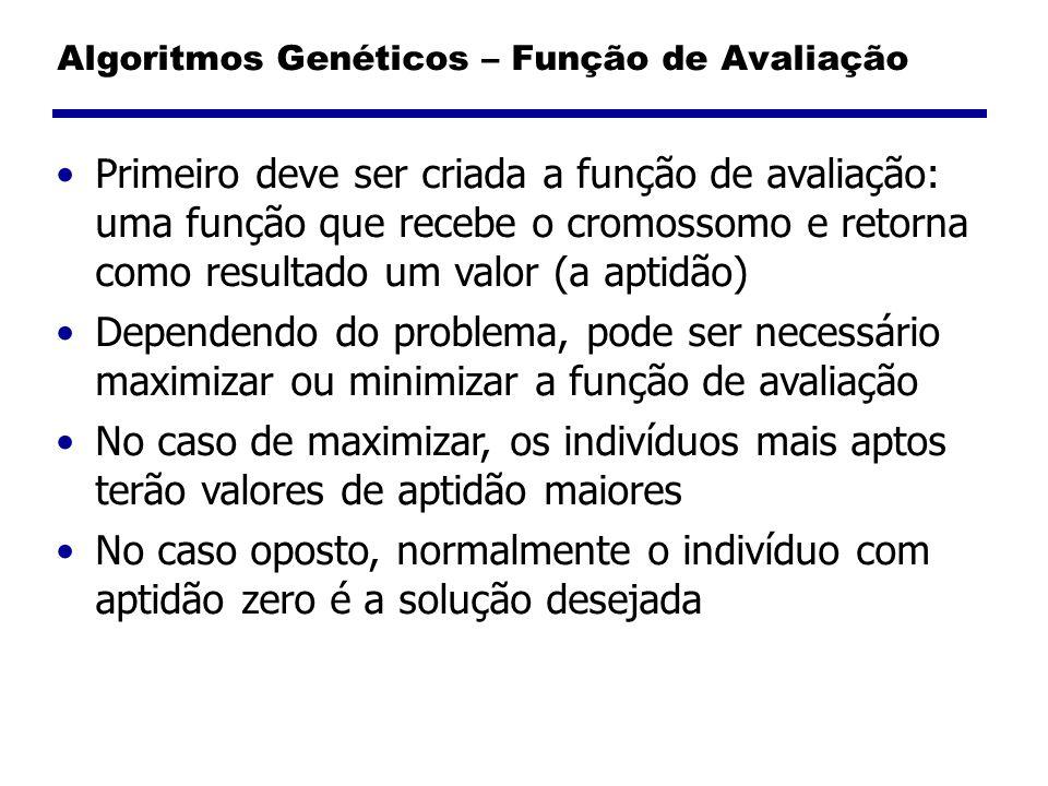 Algoritmos Genéticos – Função de Avaliação Primeiro deve ser criada a função de avaliação: uma função que recebe o cromossomo e retorna como resultado