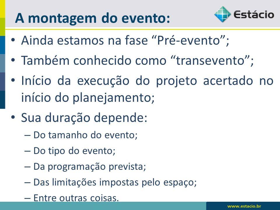A montagem do evento: Ainda estamos na fase Pré-evento; Também conhecido como transevento; Início da execução do projeto acertado no início do planeja