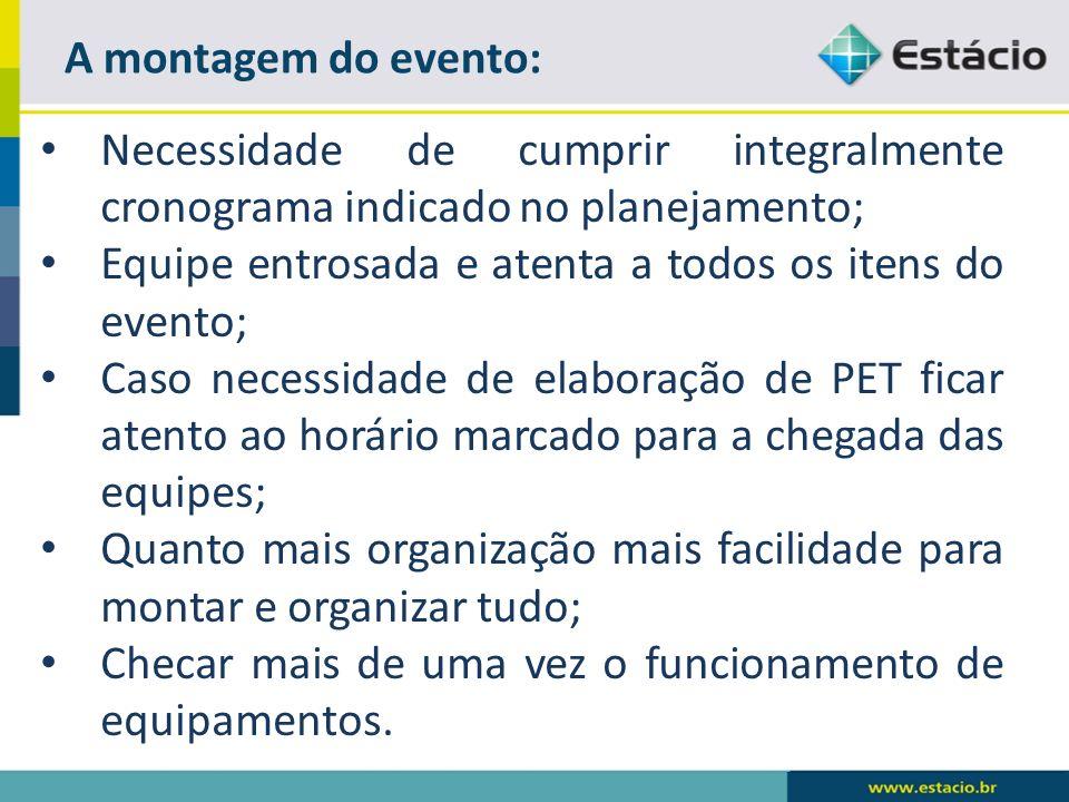 A montagem do evento: Necessidade de cumprir integralmente cronograma indicado no planejamento; Equipe entrosada e atenta a todos os itens do evento;