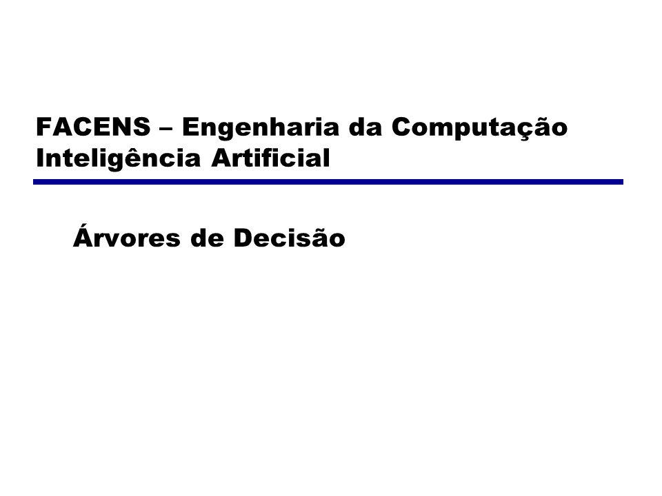 FACENS – Engenharia da Computação Inteligência Artificial Árvores de Decisão
