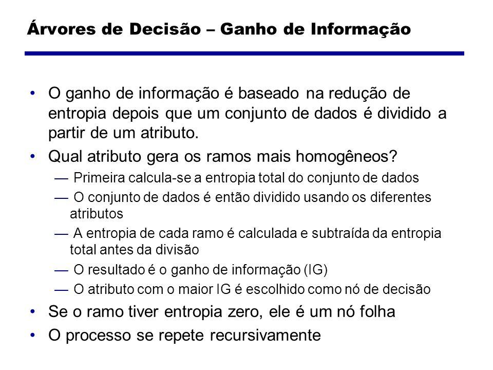 Árvores de Decisão – Ganho de Informação O ganho de informação é baseado na redução de entropia depois que um conjunto de dados é dividido a partir de