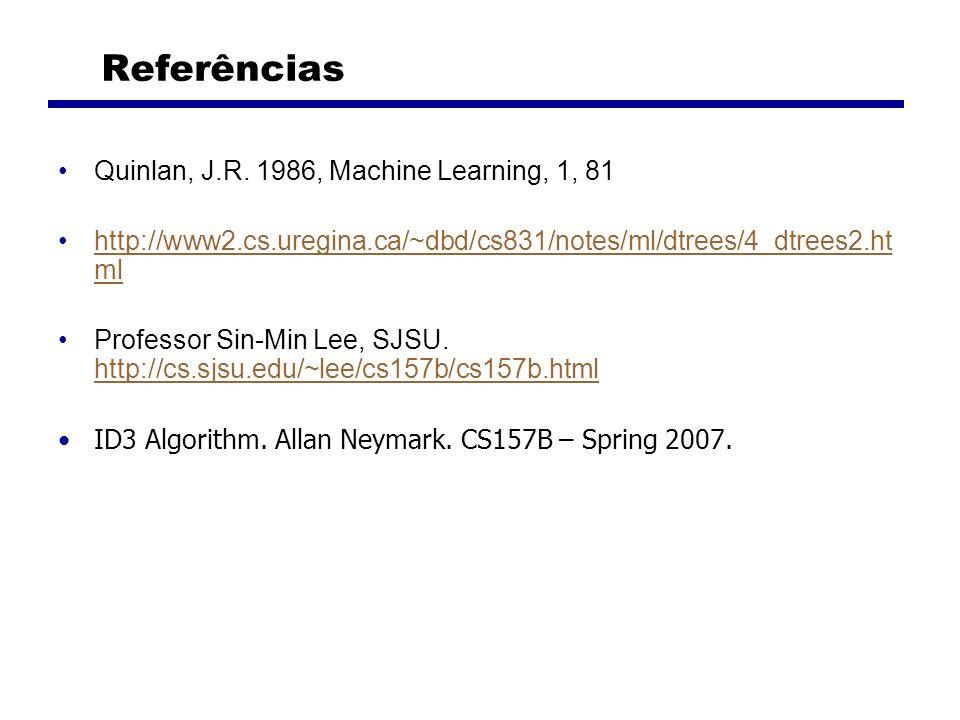 Referências Quinlan, J.R. 1986, Machine Learning, 1, 81 http://www2.cs.uregina.ca/~dbd/cs831/notes/ml/dtrees/4_dtrees2.ht mlhttp://www2.cs.uregina.ca/