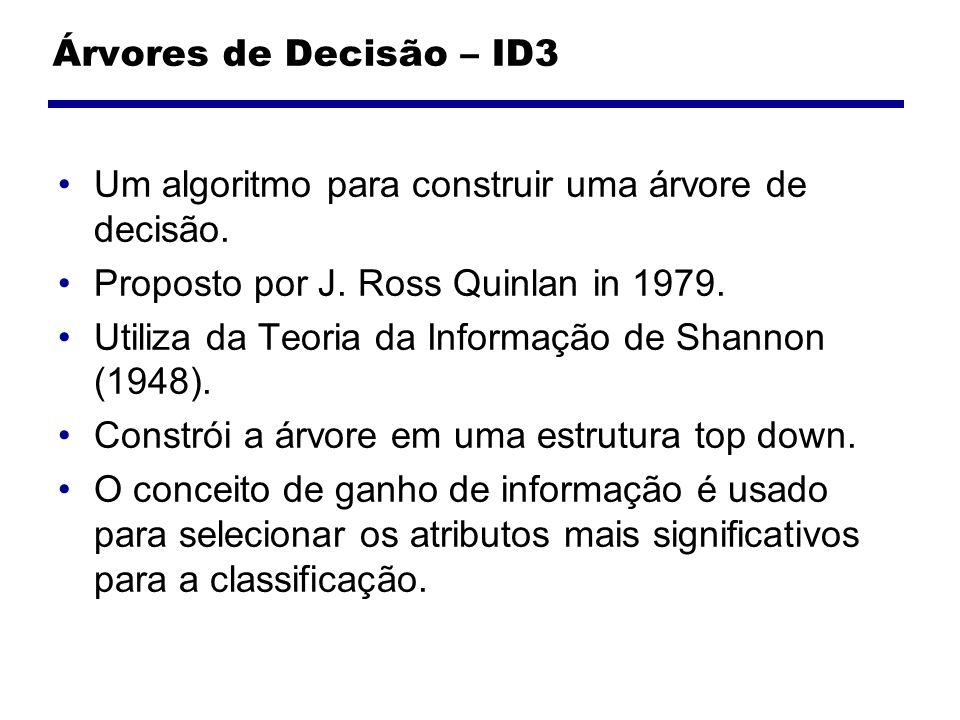 Árvores de Decisão – ID3 Um algoritmo para construir uma árvore de decisão. Proposto por J. Ross Quinlan in 1979. Utiliza da Teoria da Informação de S