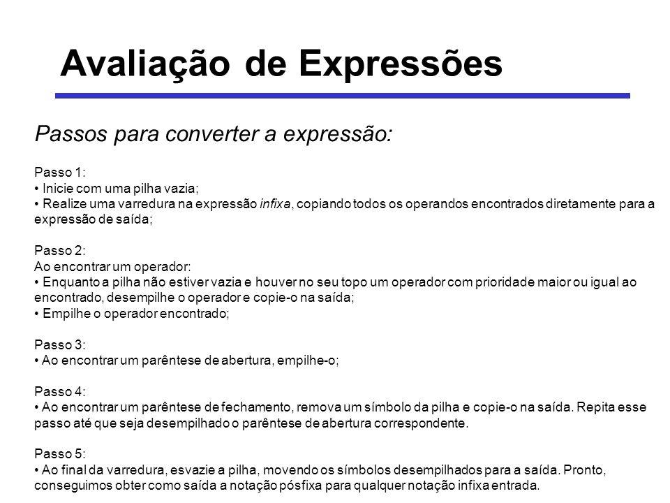 Avaliação de Expressões Passos para converter a expressão: Passo 1: Inicie com uma pilha vazia; Realize uma varredura na expressão infixa, copiando to