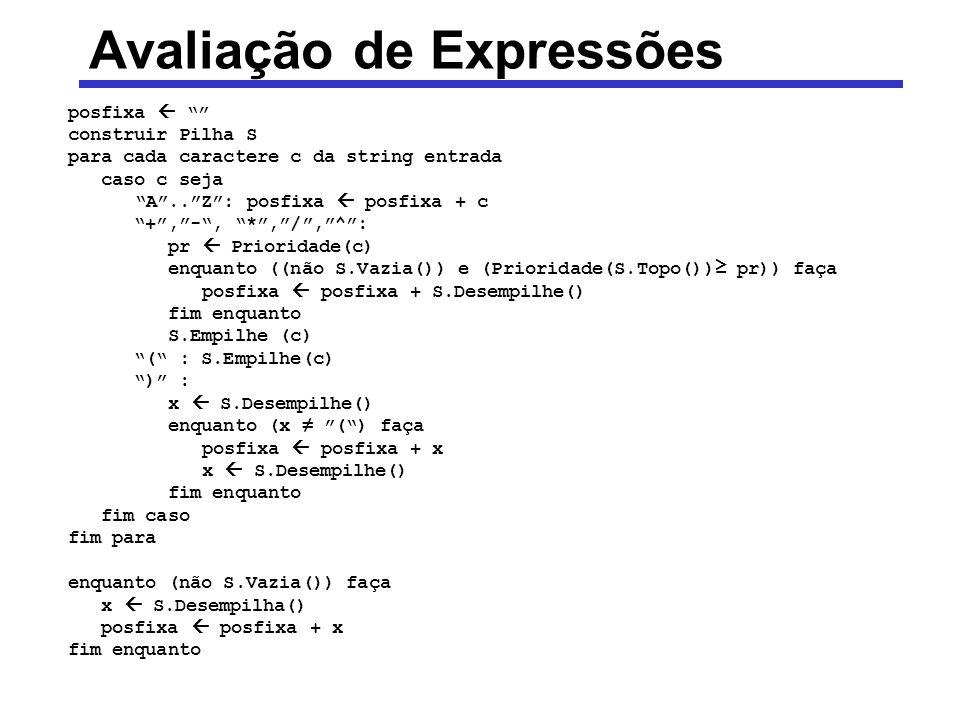 Avaliação de Expressões posfixa construir Pilha S para cada caractere c da string entrada caso c seja A..Z: posfixa posfixa + c +,-, *,/,^: pr Priorid