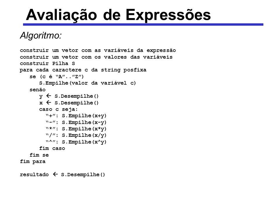 Avaliação de Expressões Algoritmo: construir um vetor com as variáveis da expressão construir um vetor com os valores das variáveis construir Pilha S