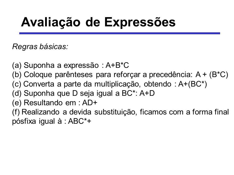 Avaliação de Expressões Regras básicas: (a) Suponha a expressão : A+B*C (b) Coloque parênteses para reforçar a precedência: A + (B*C) (c) Converta a p