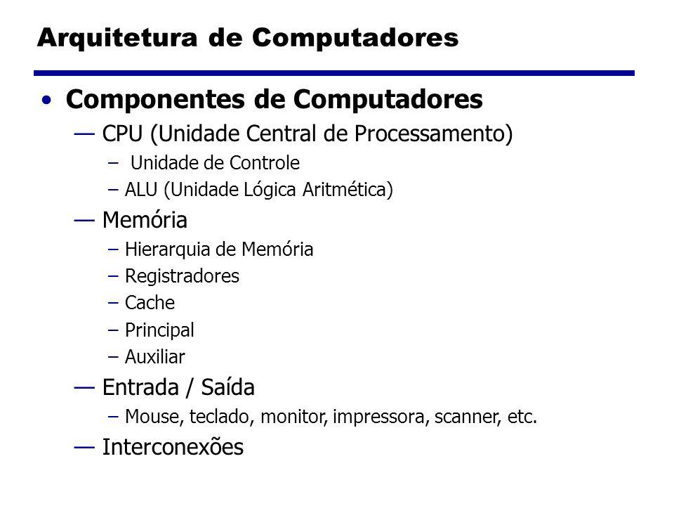 Componentes de Computadores CPU (Unidade Central de Processamento) – Unidade de Controle –ALU (Unidade Lógica Aritmética) Memória –Hierarquia de Memór