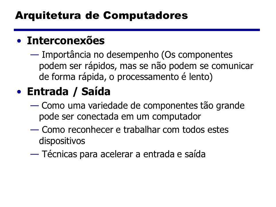Arquitetura de Computadores Interconexões Importância no desempenho (Os componentes podem ser rápidos, mas se não podem se comunicar de forma rápida,