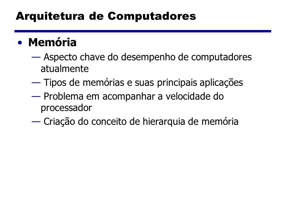 Arquitetura de Computadores Memória Aspecto chave do desempenho de computadores atualmente Tipos de memórias e suas principais aplicações Problema em