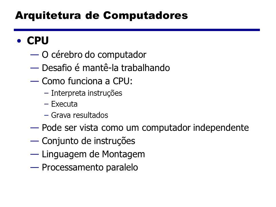 Arquitetura de Computadores CPU O cérebro do computador Desafio é mantê-la trabalhando Como funciona a CPU: –Interpreta instruções –Executa –Grava res