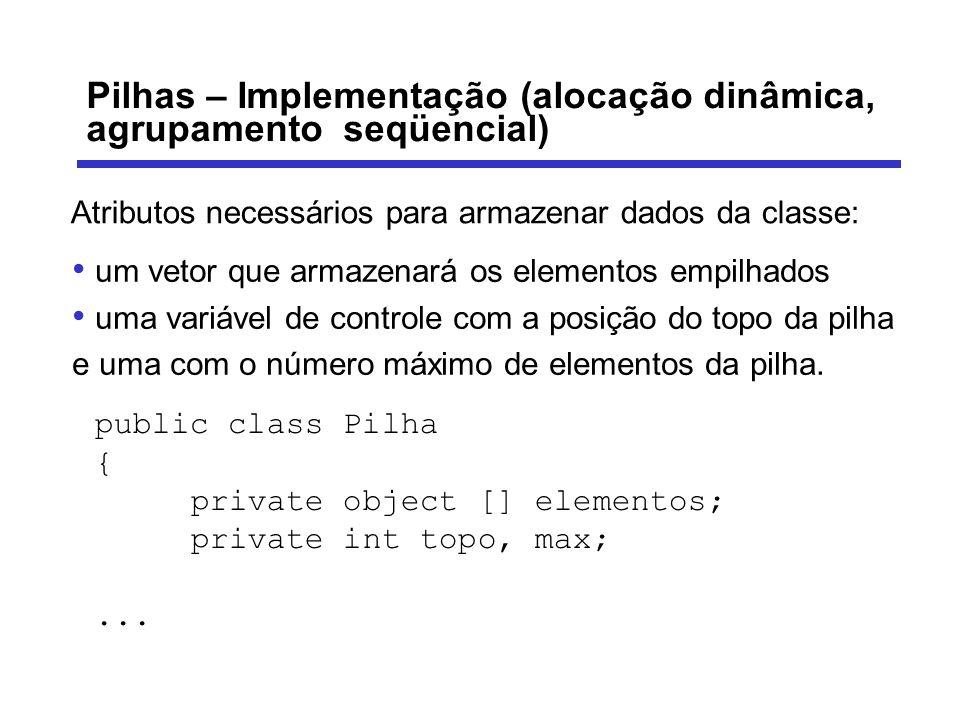 Pilhas – Implementação (alocação dinâmica, agrupamento seqüencial) Atributos necessários para armazenar dados da classe: um vetor que armazenará os el