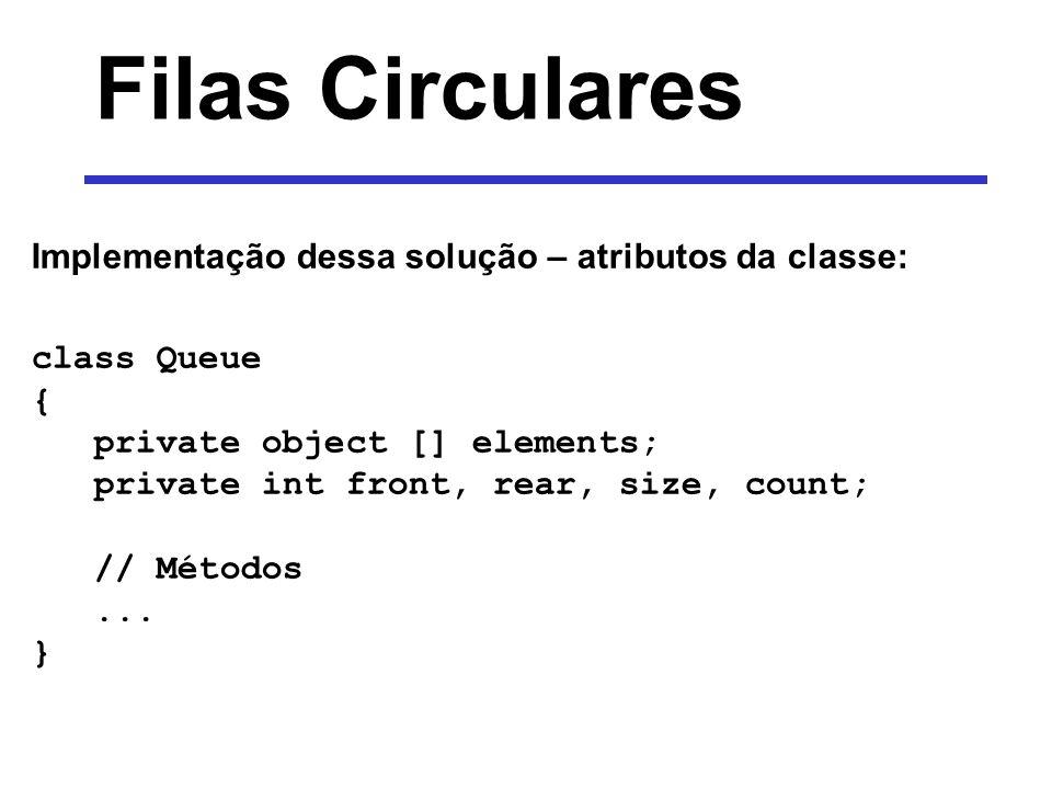 Filas Circulares Implementação dessa solução – atributos da classe: class Queue { private object [] elements; private int front, rear, size, count; //