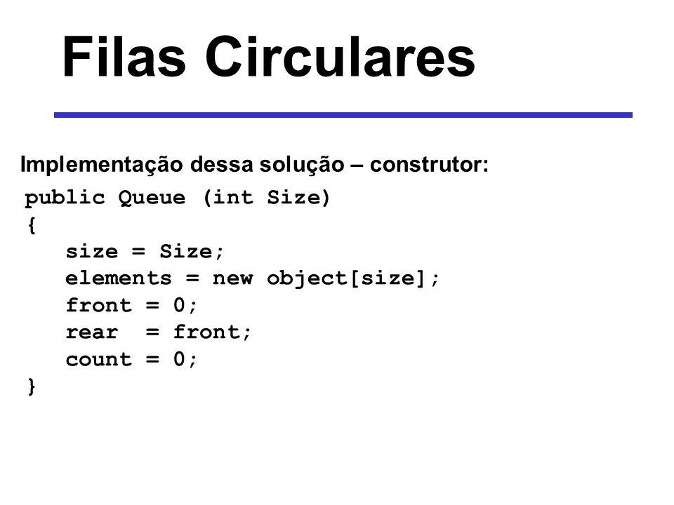 Filas Circulares Implementação dessa solução – construtor: public Queue (int Size) { size = Size; elements = new object[size]; front = 0; rear = front