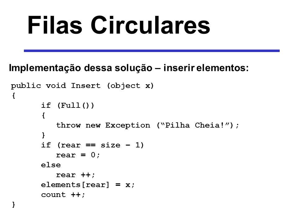 Filas Circulares Implementação dessa solução – inserir elementos: public void Insert (object x) { if (Full()) { throw new Exception (Pilha Cheia!); }