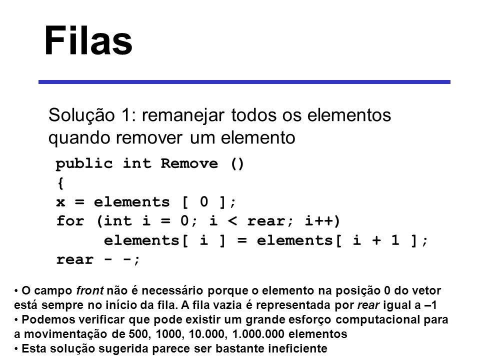 Filas Solução 1: remanejar todos os elementos quando remover um elemento public int Remove () { x = elements [ 0 ]; for (int i = 0; i < rear; i++) ele