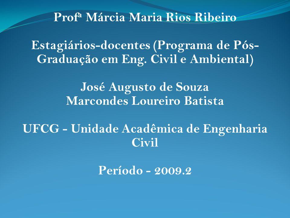 Prof a Márcia Maria Rios Ribeiro Estagiários-docentes (Programa de Pós- Graduação em Eng. Civil e Ambiental) José Augusto de Souza Marcondes Loureiro