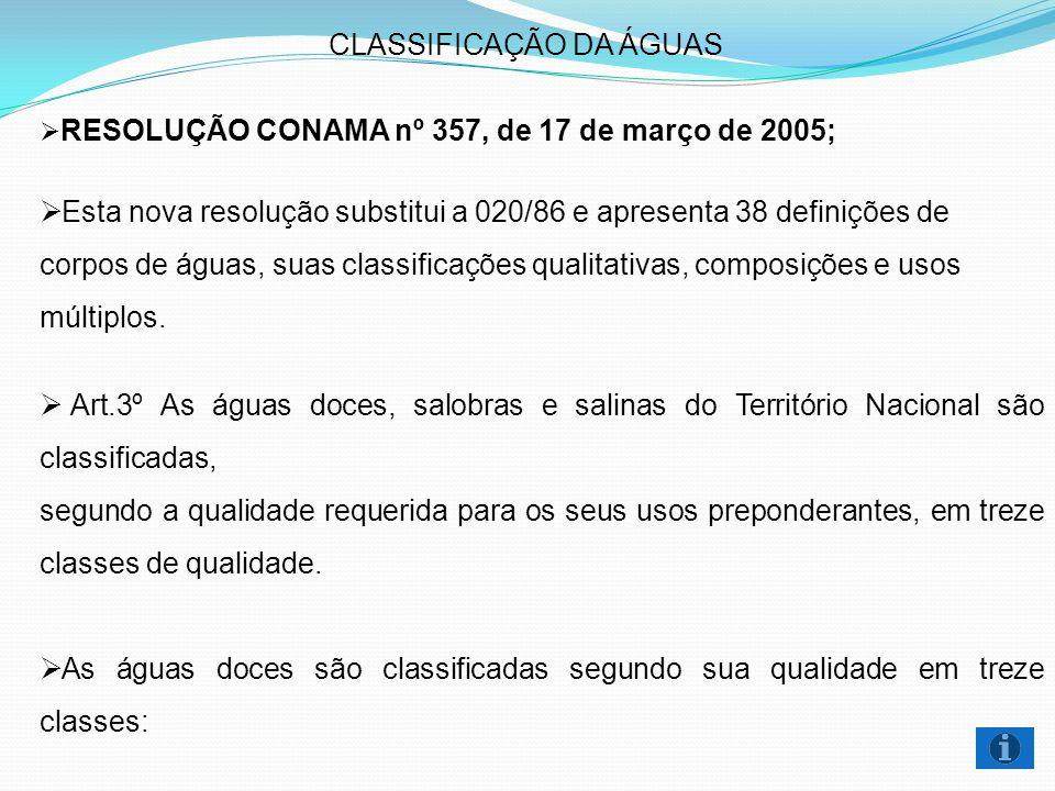 CLASSIFICAÇÃO DA ÁGUAS RESOLUÇÃO CONAMA nº 357, de 17 de março de 2005; Esta nova resolução substitui a 020/86 e apresenta 38 definições de corpos de