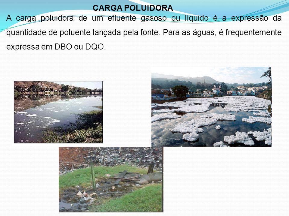 CARGA POLUIDORA A carga poluidora de um efluente gasoso ou líquido é a expressão da quantidade de poluente lançada pela fonte. Para as águas, é freqüe