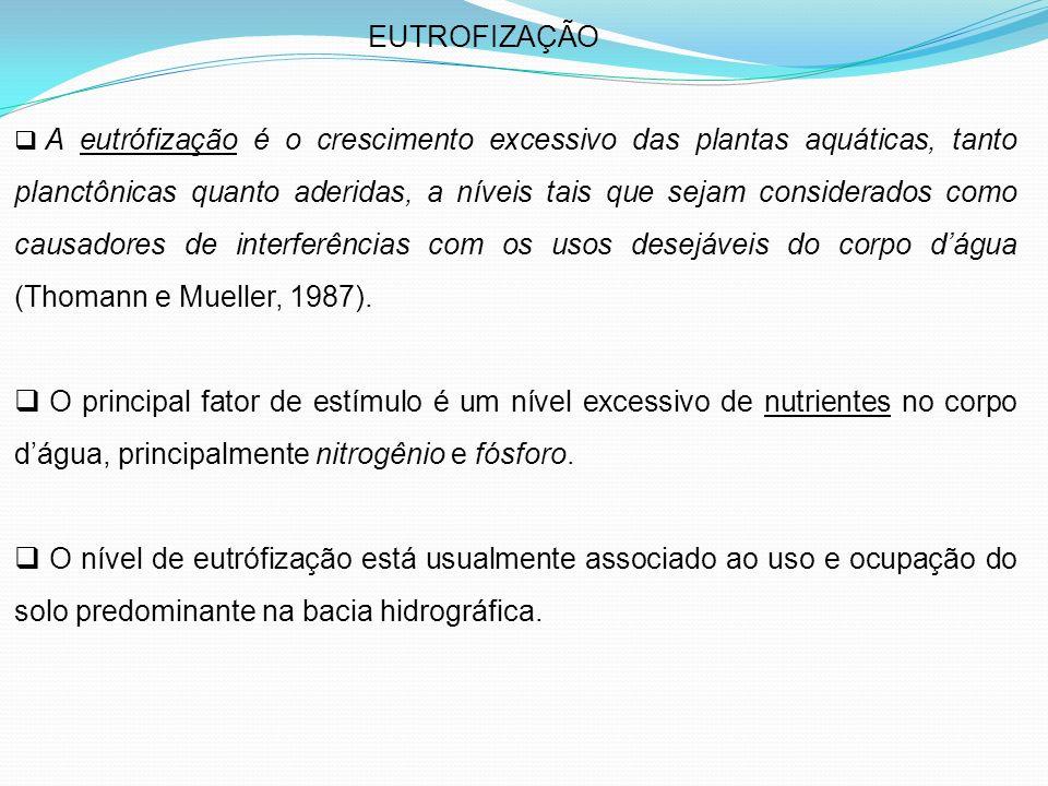 EUTROFIZAÇÃO A eutrófização é o crescimento excessivo das plantas aquáticas, tanto planctônicas quanto aderidas, a níveis tais que sejam considerados