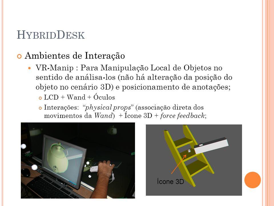 H YBRID D ESK Ambientes de Interação VR-Manip : Para Manipulação Local de Objetos no sentido de análisa-los (não há alteração da posição do objeto no
