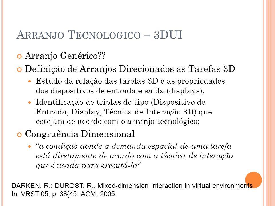 A RRANJO T ECNOLOGICO – 3DUI Arranjo Genérico?? Definição de Arranjos Direcionados as Tarefas 3D Estudo da relação das tarefas 3D e as propriedades do