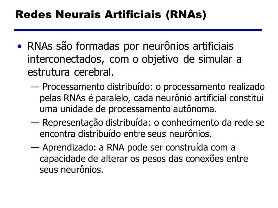 Redes Neurais Artificiais (RNAs) RNAs são formadas por neurônios artificiais interconectados, com o objetivo de simular a estrutura cerebral.