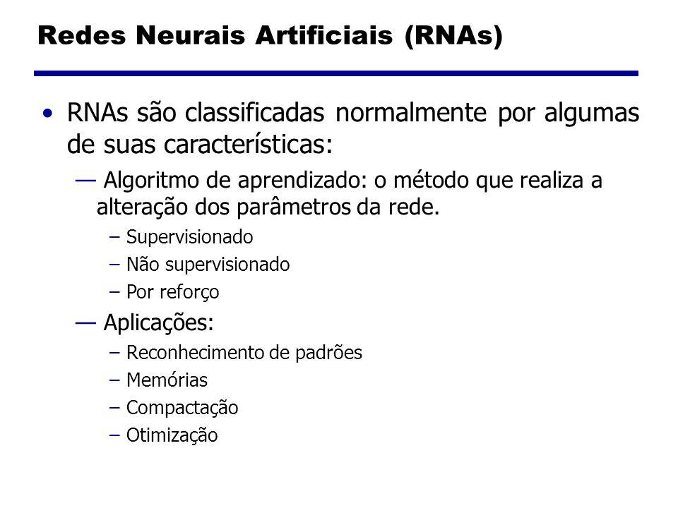 Redes Neurais Artificiais (RNAs) RNAs são classificadas normalmente por algumas de suas características: Algoritmo de aprendizado: o método que realiza a alteração dos parâmetros da rede.