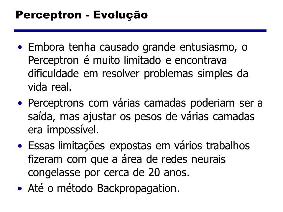 Perceptron - Evolução Embora tenha causado grande entusiasmo, o Perceptron é muito limitado e encontrava dificuldade em resolver problemas simples da vida real.
