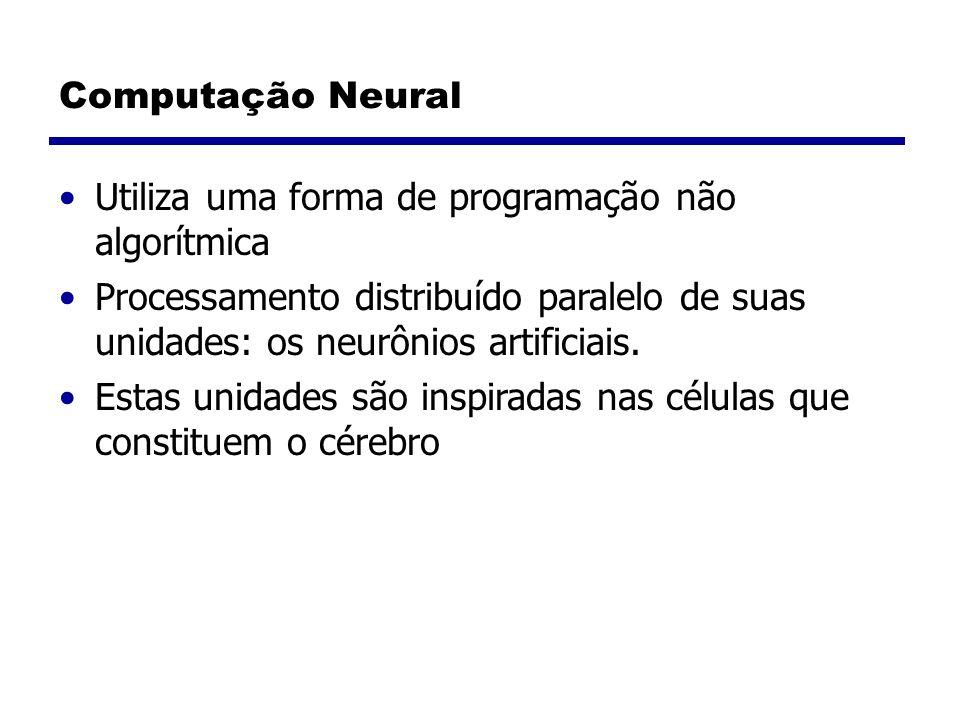 Computação Neural Utiliza uma forma de programação não algorítmica Processamento distribuído paralelo de suas unidades: os neurônios artificiais.