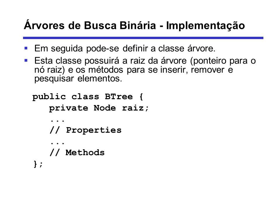 Árvores de Busca Binária - Implementação Em seguida pode-se definir a classe árvore. Esta classe possuirá a raiz da árvore (ponteiro para o nó raiz) e