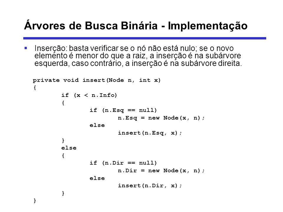 Árvores de Busca Binária - Implementação Inserção: basta verificar se o nó não está nulo; se o novo elemento é menor do que a raiz, a inserção é na su