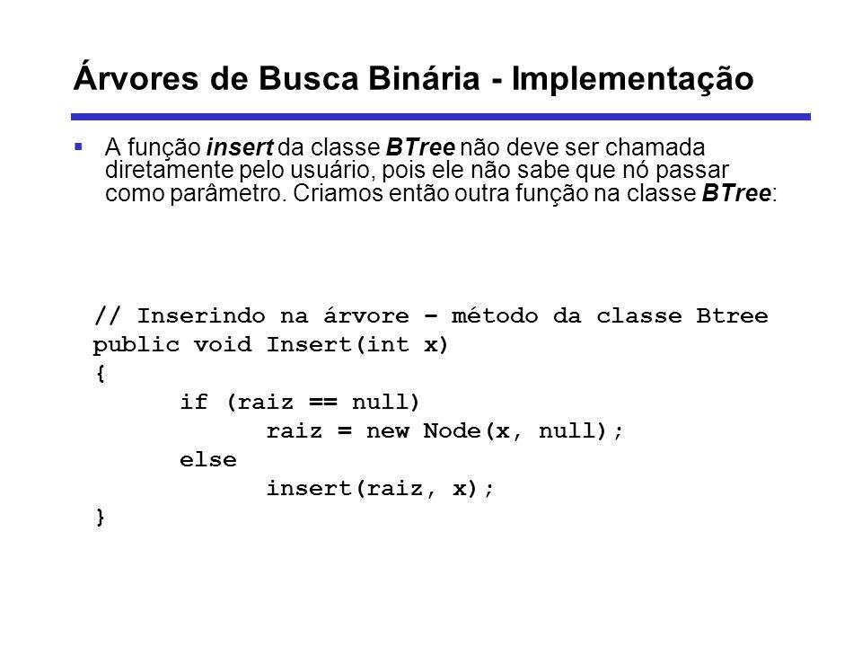 Árvores de Busca Binária - Implementação A função insert da classe BTree não deve ser chamada diretamente pelo usuário, pois ele não sabe que nó passa