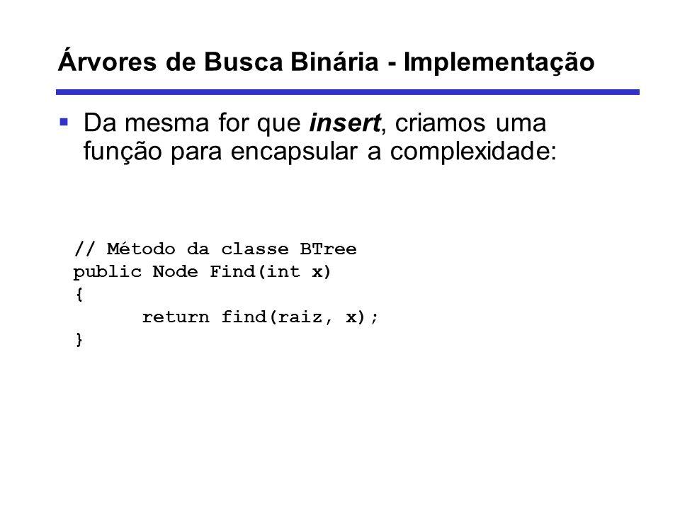 Árvores de Busca Binária - Implementação Da mesma for que insert, criamos uma função para encapsular a complexidade: // Método da classe BTree public