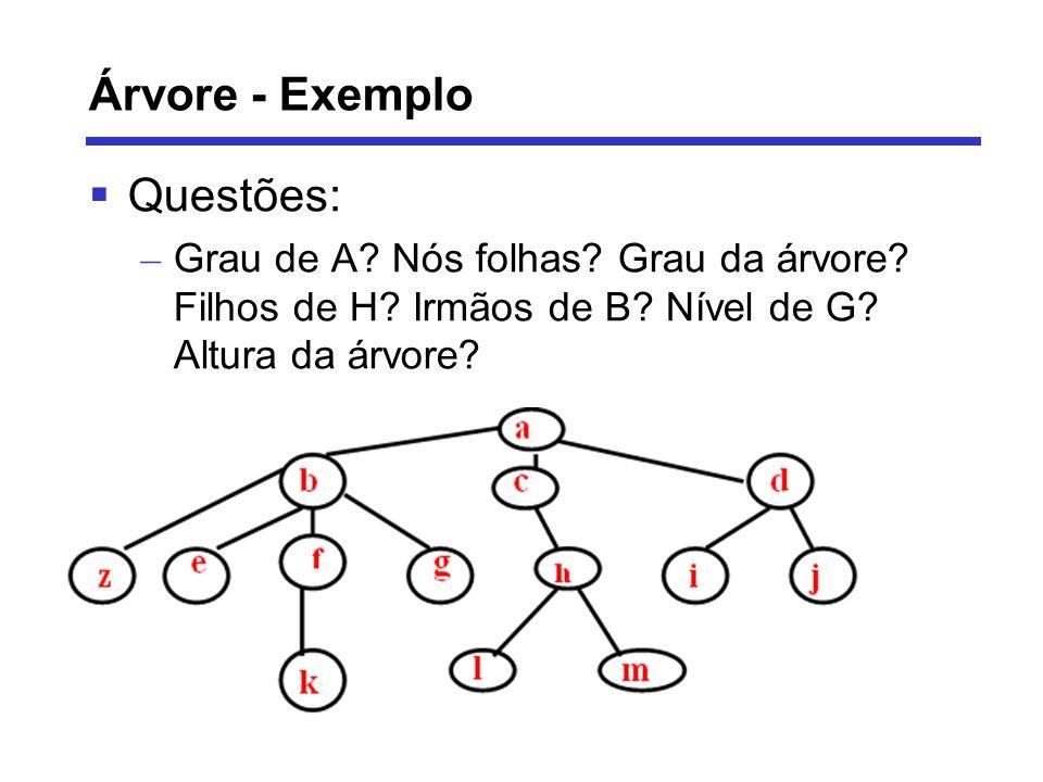 Árvore - Exemplo Questões: – Grau de A? Nós folhas? Grau da árvore? Filhos de H? Irmãos de B? Nível de G? Altura da árvore?
