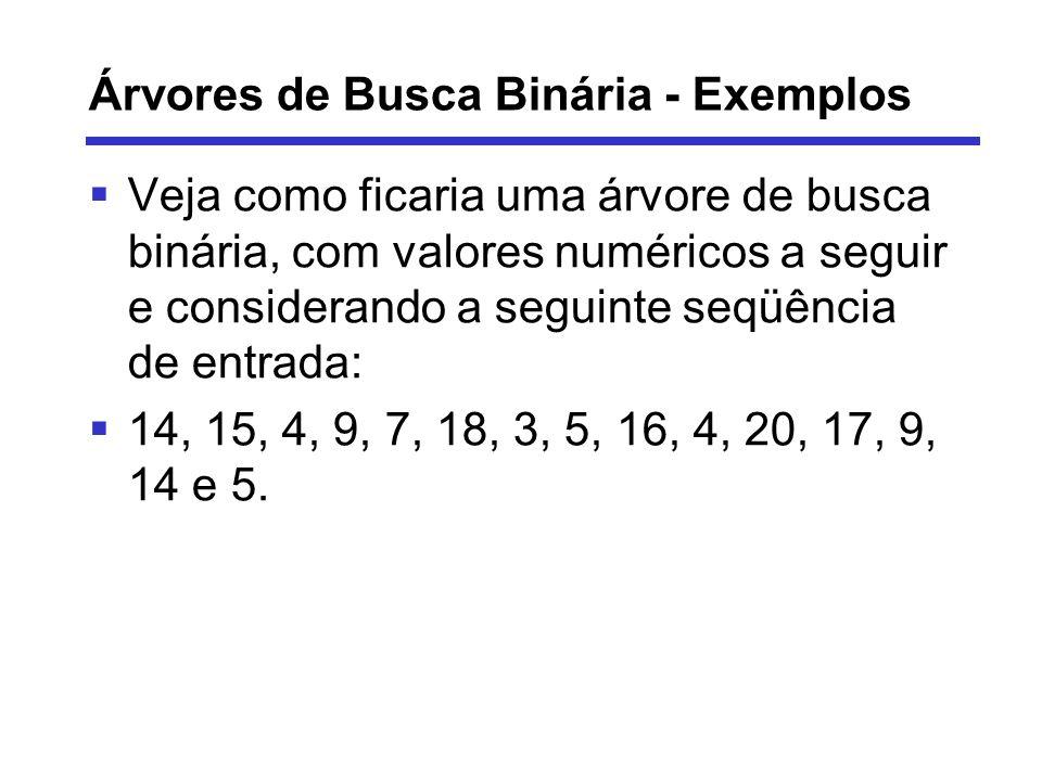 Árvores de Busca Binária - Exemplos Veja como ficaria uma árvore de busca binária, com valores numéricos a seguir e considerando a seguinte seqüência