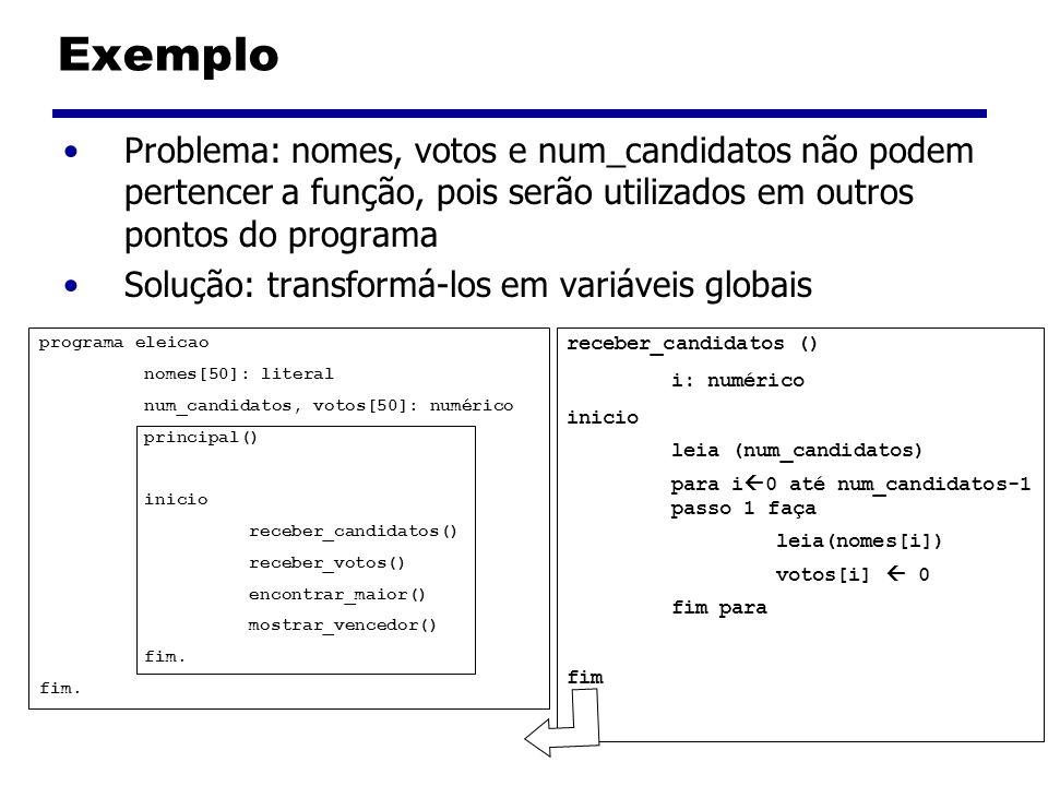 Exemplo Problema: nomes, votos e num_candidatos não podem pertencer a função, pois serão utilizados em outros pontos do programa Solução: transformá-l
