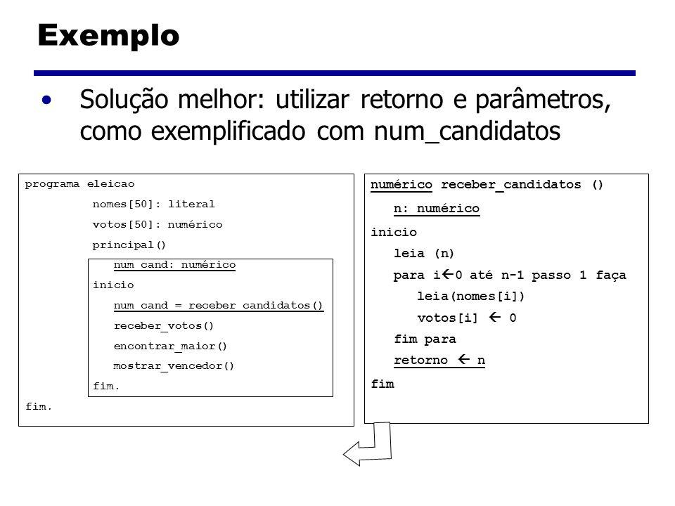 Exemplo Solução melhor: utilizar retorno e parâmetros, como exemplificado com num_candidatos programa eleicao nomes[50]: literal votos[50]: numérico p