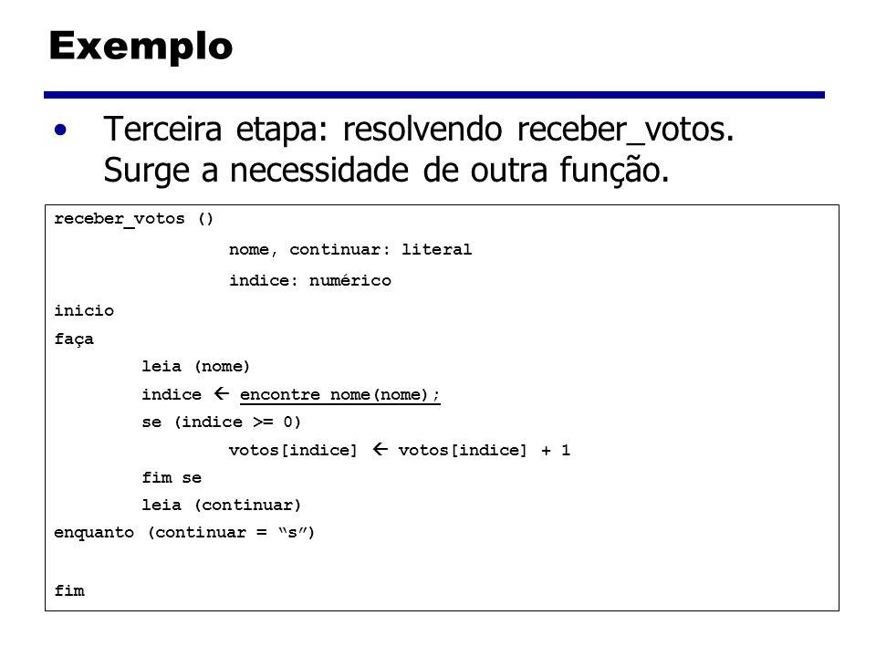 Exemplo Terceira etapa: resolvendo receber_votos. Surge a necessidade de outra função. receber_votos () nome, continuar: literal indice: numérico inic