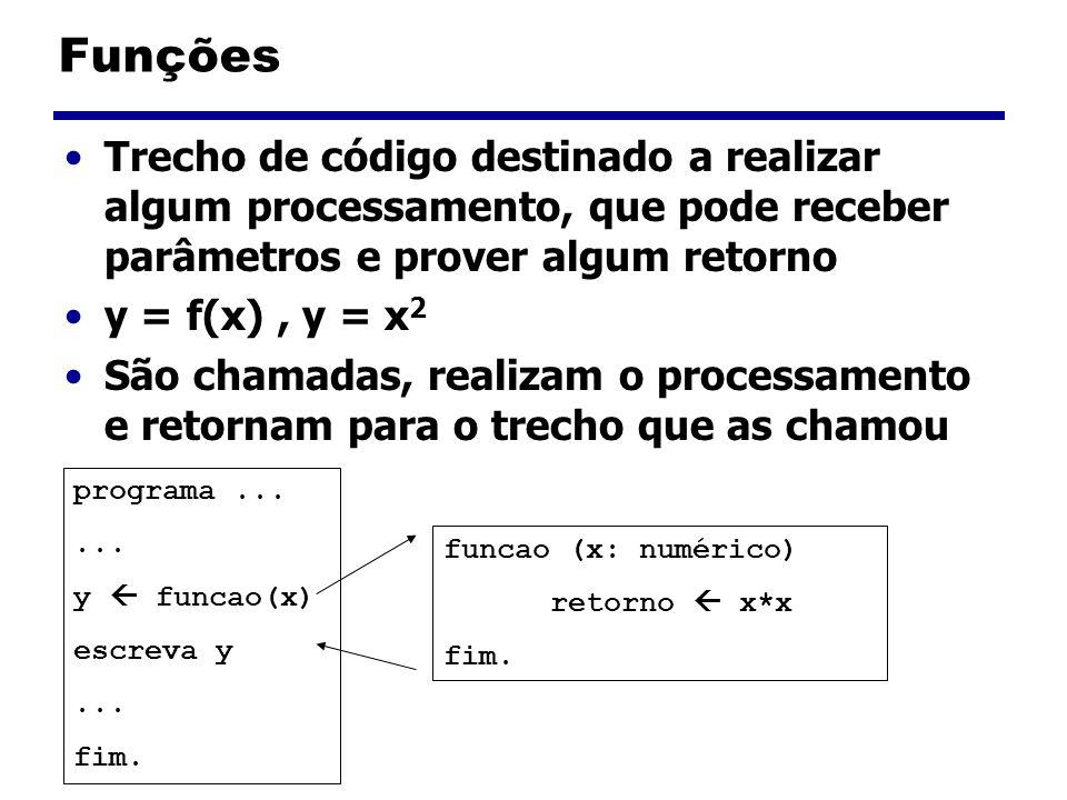Funções Trecho de código destinado a realizar algum processamento, que pode receber parâmetros e prover algum retorno y = f(x), y = x 2 São chamadas,
