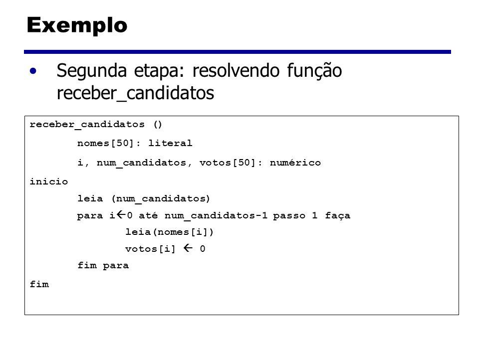 Exemplo Segunda etapa: resolvendo função receber_candidatos receber_candidatos () nomes[50]: literal i, num_candidatos, votos[50]: numérico inicio lei