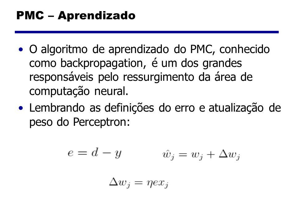 PMC – Aprendizado O algoritmo de aprendizado do PMC, conhecido como backpropagation, é um dos grandes responsáveis pelo ressurgimento da área de compu