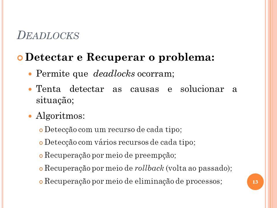 D EADLOCKS Detectar e Recuperar o problema: Permite que deadlocks ocorram; Tenta detectar as causas e solucionar a situação; Algoritmos: Detecção com