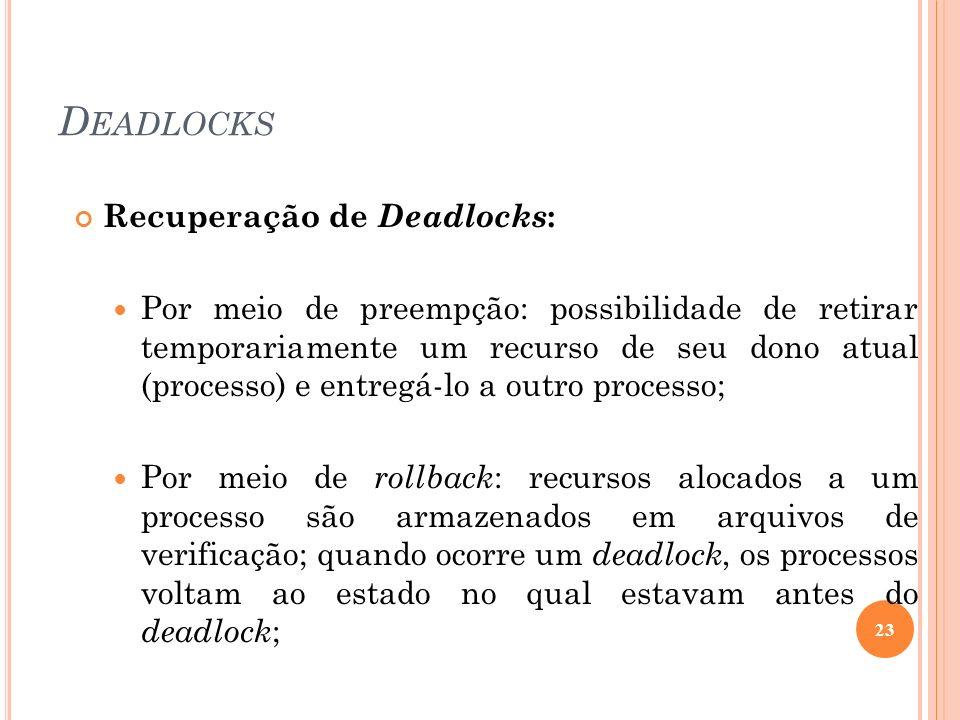 D EADLOCKS Recuperação de Deadlocks : Por meio de preempção: possibilidade de retirar temporariamente um recurso de seu dono atual (processo) e entreg