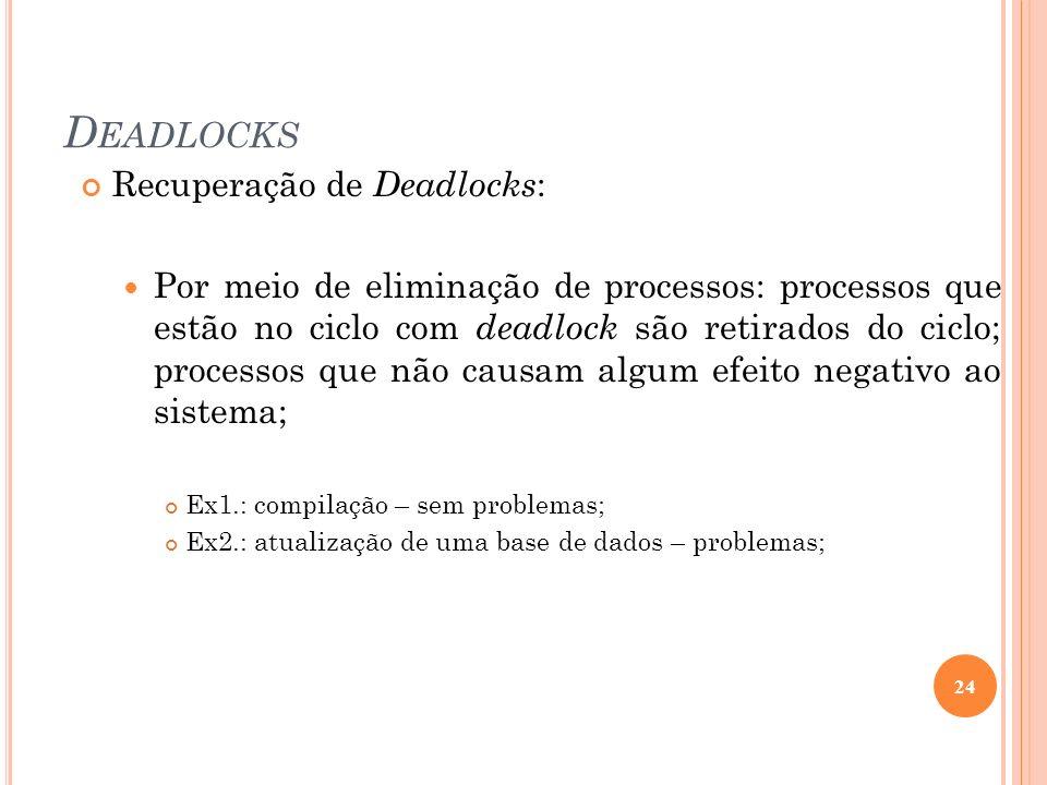D EADLOCKS Recuperação de Deadlocks : Por meio de eliminação de processos: processos que estão no ciclo com deadlock são retirados do ciclo; processos