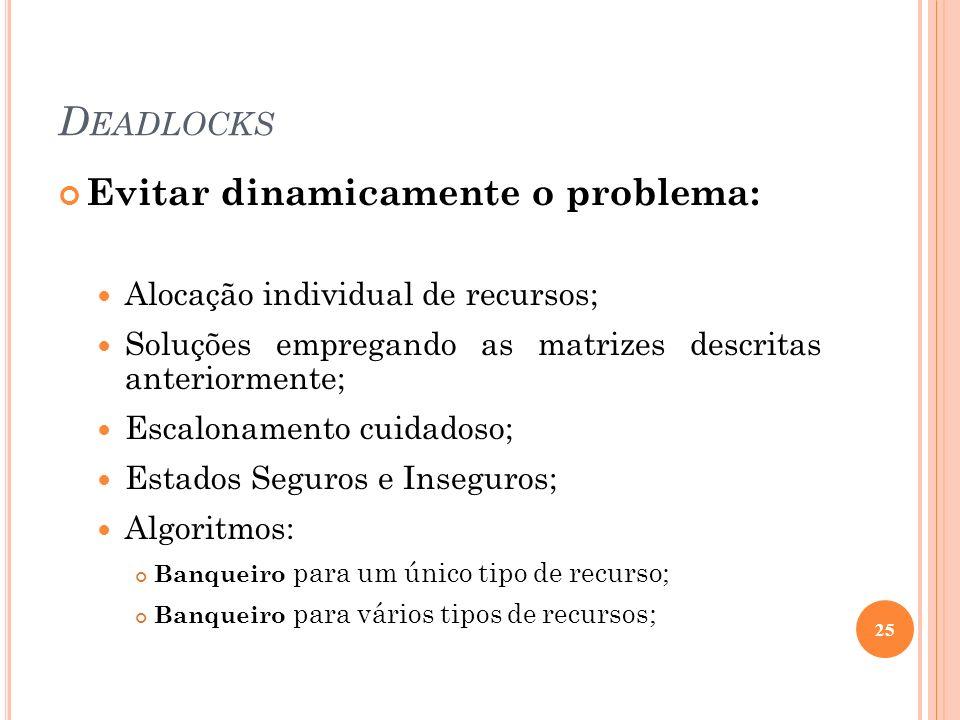 D EADLOCKS Evitar dinamicamente o problema: Alocação individual de recursos; Soluções empregando as matrizes descritas anteriormente; Escalonamento cu
