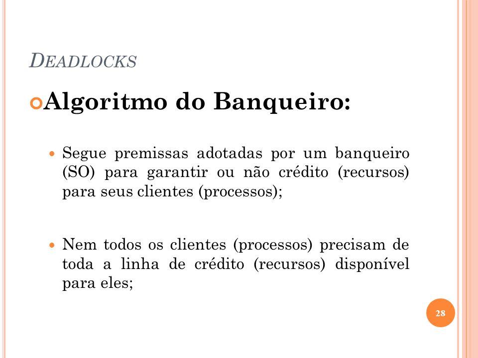 D EADLOCKS Algoritmo do Banqueiro: Segue premissas adotadas por um banqueiro (SO) para garantir ou não crédito (recursos) para seus clientes (processo